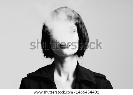 beautiful charming woman tobacco smoke charm model