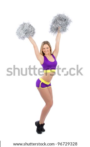 Beautiful cheerleader woman dancer girl from cheerleading team dancing smiling isolated on a white background