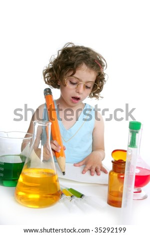 Beautiful chemistry little girl playing on a laboratory