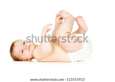 beautiful child naked in diapers