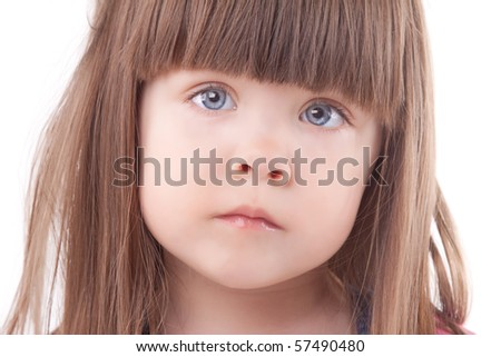 Beautiful child portrait. Isolated on white.