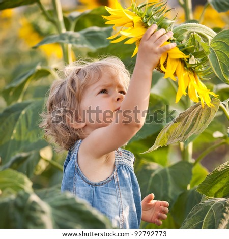 Beautiful child with sunflower in spring field - stock photo