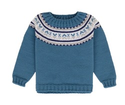 Beautiful children's wool knitted blue baby sweater with an ornament on a collar with a long sleeve, a pre look, layout, ghost mannequin, isolated on a white background, clipping