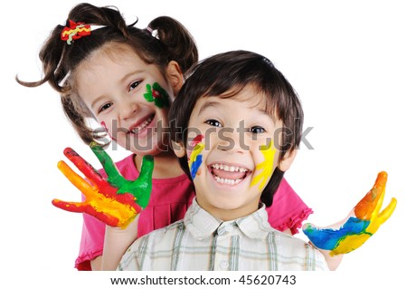 Beautiful children with colors