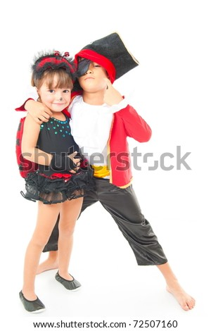 Beautiful children with costumes on white background .