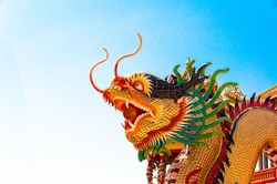 Beautiful chinese dragon head in chinese temple thailand