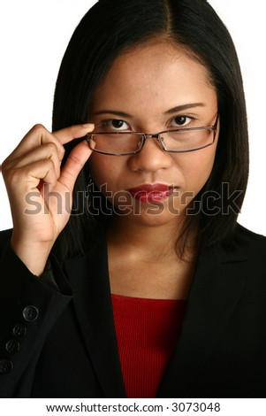 Beautiful Chinese Indonesian business woman, with glasses.