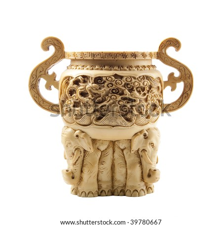Beautiful chinese vase made of ivory, decorated with carvings and for elephants at the bottom.