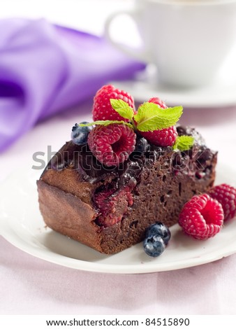 Beautiful Chocolate Cake With Fresh Berry Selective Focus Ez Canvas