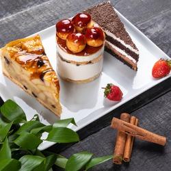 Beautiful chocolate cakes, desserts close up