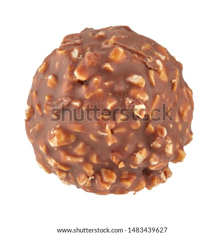 Beautiful chocolate candy ball shape with filling and nuts, isolated on white background. Full sharpness across the entire frame field. Photo stock ©