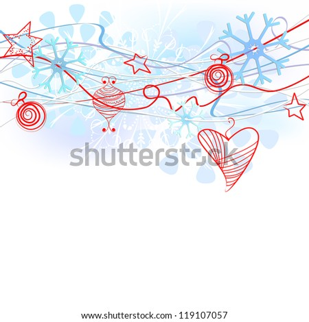 Beautiful Christmas background with snowflakes and Christmas decorations.