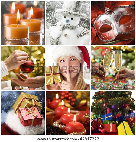 Beautiful christmas collage made from nine photos