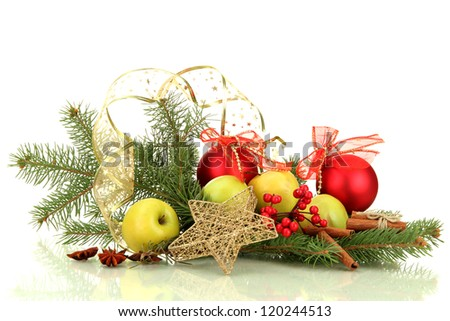 beautiful christmas composition, isolated on white
