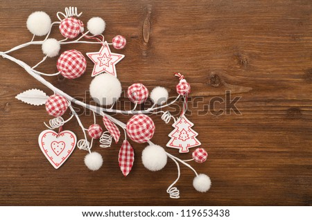 Beautiful Christmas decoration over wooden  background - stock photo