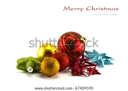 Beautiful christmas decorations on white background with copy space.