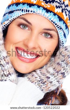 Beautiful christmas girl portrait isolated on white background.