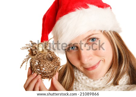 beautiful christmas girl with ball decoration