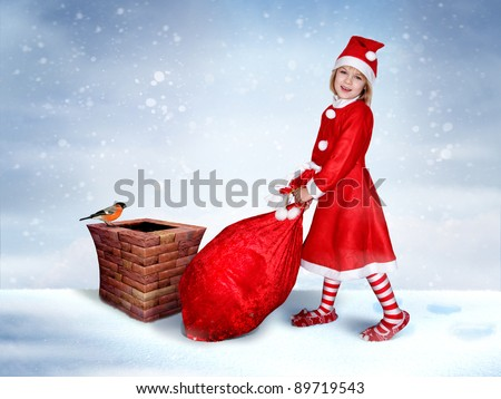 Beautiful christmas Girl with Gift Sack on the Roof. Funny Poster.