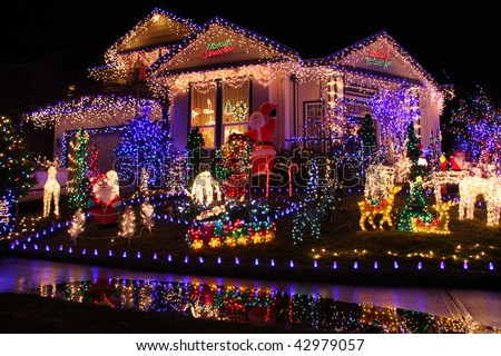 Beautiful Christmas Lights Display Stock Photo 42979057