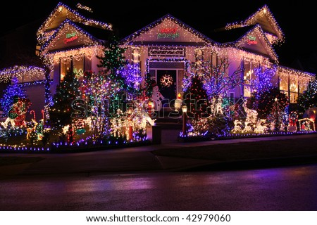 Beautiful Christmas Lights Display Stock Photo 42979060