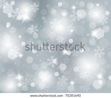 Beautiful christmas silver background with snowflakes - stock photo