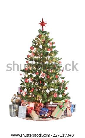 Beautiful christmas tree isolated on white background - studio shot  - Shutterstock ID 227119348