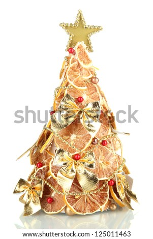 beautiful christmas tree of dry lemons with decor, isolated on white