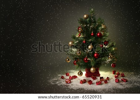 beautiful christmas tree on dark background