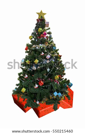 Beautiful Christmas tree on gift boxes #550215460