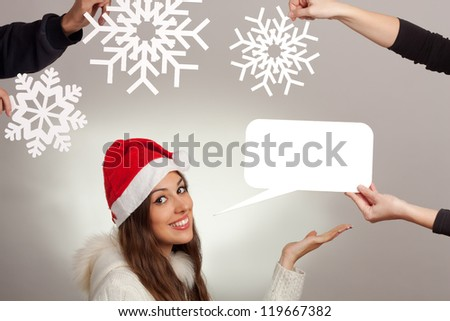 Beautiful christmas woman tells something