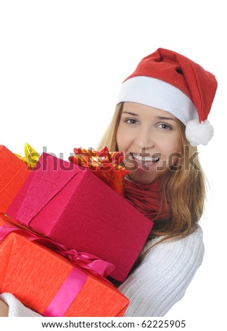 Beautiful christmas woman with a gift. Isolated on white background - stock photo