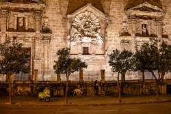 beautiful church at placa del mercat in valencia spain at night