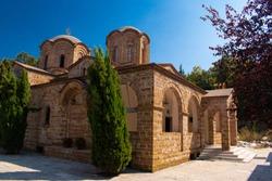 Beautiful church of Saint Dionysos on a sunny summer day in Litchoro, Bulgaria