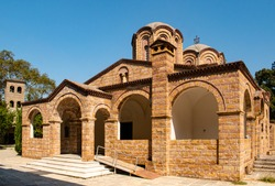 Beautiful church of St. Dionysos on a sunny summer day in Litchoro, Bulgaria