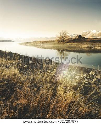 Beautiful Church Panoramic Serene New Zealand Concept #327207899