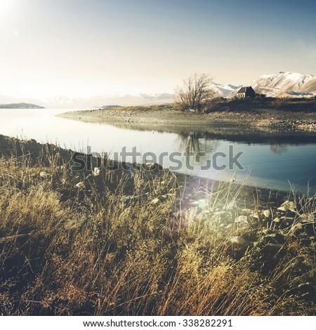 Beautiful Church Panoramic Serene New Zealand Concept #338282291