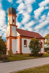Beautiful church Saint Johann on a sunny autumn or indian summer day near Falkenfels, Bavarian forest, Bavaria, Germany