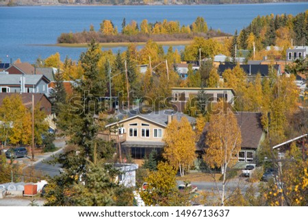Beautiful City View in Yellowknife, Northwest Territories, Canad Foto stock ©