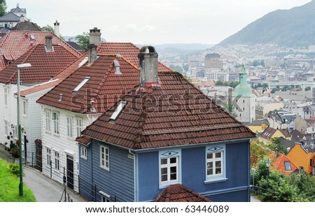 beautiful city view of Bergen, Norway