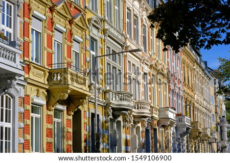 """Beautiful city villa facades in the style of the german Neorenaissance or Neoclassicism. These buildings have been constructed during the so called """"Gründerzeit"""" before 1900 and are located in Aachen."""