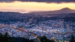 Beautiful cityscape after sunset. Nightlight. Dunedin, New Zealand.