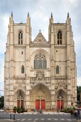 Beautiful cityscape front view of the Nantes Cathedral, the Cathedral of St. Peter and St. Paul of Nantes (Cathédrale Saint-Pierre-et-Saint-Paul de Nantes), a Roman Catholic church in Nantes, France