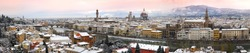 Beautiful cityscape of Florence during winter season. Old Bridge, Old Palace of Signoria, Cathedral of Santa Maria del Fiore and Basilica of the Holy Cross. Florence from Piazzale Michelangelo, Italy.
