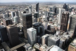 Beautiful cityscape of Melbourne, Australia. Multitude of skyscrapers.