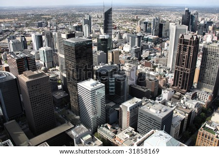 Beautiful cityscape of Melbourne, Australia. Multitude of skyscrapers.