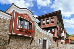 Beautiful cityscape of Plovdiv, Bulgaria, in the medieval part of the city called Old Town