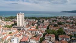 Beautiful cityscape over Varna city and Varna Bay, Bulgaria. Aerial view. Varna is the sea capital of Bulgaria.