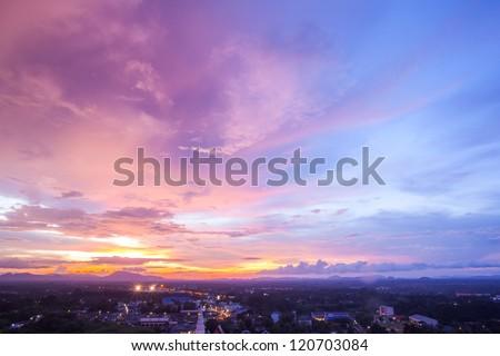beautiful cityscape sunset at...