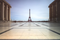 Beautiful cityscape urban street view of the Eiffel tower in Paris, France, on a spring day, seen from Trocadero square